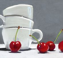 Cherries and Coffee cup by ria hills