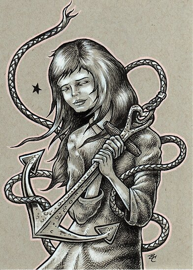 Girl Holding an Anchor by Bryan Collins