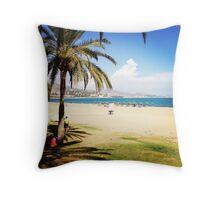 Beach Life in Málaga Throw Pillow