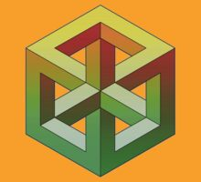Penrose Cube - Yellow Green Gradation by VanHogTrio