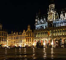 Brussels - the Magnificent Grand Place at Night by Georgia Mizuleva