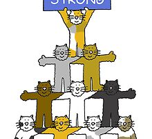 Stay Strong encouragement card with cats. by KateTaylor