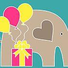 Happy Birthday Elephant (Turquoise) by Elephant Love