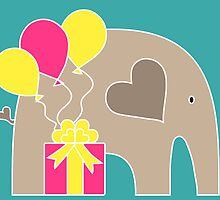 Happy Birthday Elephant (Turquoise) by Elephant Love
