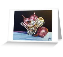 Red Onions and Garlic in a Crystal Bowl Greeting Card