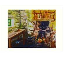 The Hearth, Magheragallen Byre Dwelling, Cultra, County Down. Oil/ acrylic on box canvas, 10 x 12 inch. Art Print