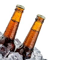 Beers on ice with copyspace isolated on white background by paulrommer