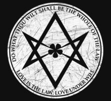 Aleister Crowley - DO WHAT THOU WILT SHALL BE THE WHOLE OF THE LAW - Occult - Thelema - Distressed - (White On Black) by James Ferguson - Darkinc1