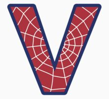 V letter in Spider-Man style by florintenica