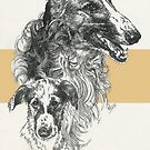 Borzoi Father & Son by BarbBarcikKeith