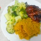 Steak, Broccoli, Zucchini And Mashed Yams by Michael Redbourn