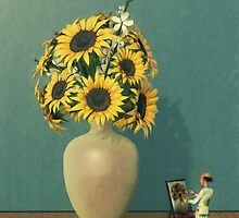 Painting Sunflowers - Surrealism by Liam Liberty