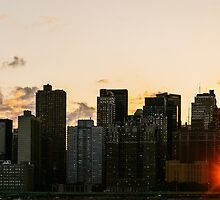 New York City Skyline - Sunset - Manhattanhenge - Chrysler Building by Randall Murrow