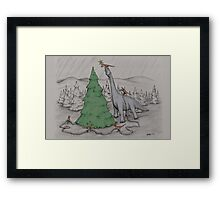 Dinosaurs Trimming the Tree - Colored Framed Print