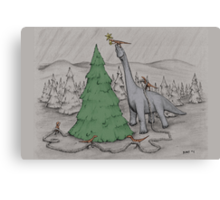 Dinosaurs Trimming the Tree - Colored Canvas Print