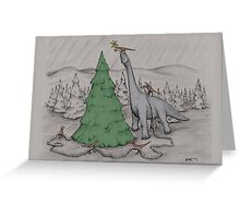Dinosaurs Trimming the Tree - Colored Greeting Card
