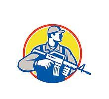Soldier Military Serviceman Assault Rifle Side Retro by patrimonio
