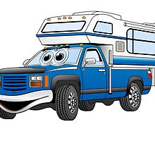 Blue Cartoon Pick Up Camper by Graphxpro
