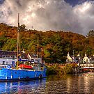 Blue Boat on the Crinan Canal by derekbeattie