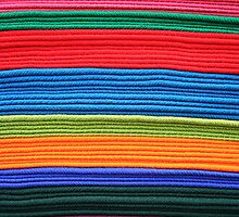 Stacked Colorful Blankets by rhamm