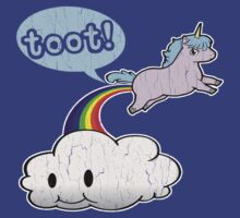 Toot! Cute Unicorn Fart (Vintage Distressed Design) by robotface