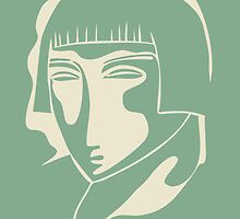woman face 1928, green by kislev