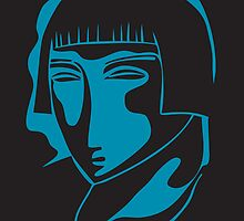 woman face 1928, black and blue by kislev