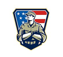 American Soldier Arms Folded Flag Retro by patrimonio