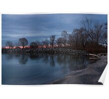 Calm, Pink Morning - Lake Ontario in Toronto Poster