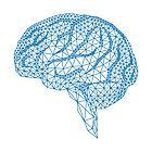 blue human brain with geometric mesh pattern by beakraus