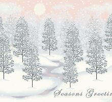 Snowy Day Winter Scene - Seasons Greetings Christmas Card by Linda Allan