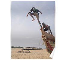 Ghana boys jumping off boat2 Poster