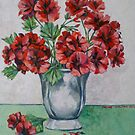 Red pelargoniums 2012Ⓒ Oil on canvas by Elizabeth Moore Golding