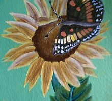 Bordered Patch Butterfly and Common Sunflower by SoaringSpirit