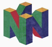 N64 Logo T-shirt Distressed by doodlemarks