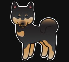 Black And Tan Shiba Inu Dog Cartoon by destei
