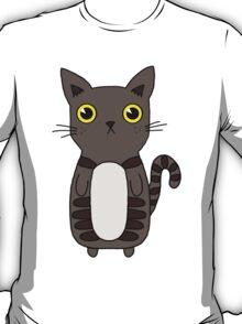 Dark Grey Kitten With Yellow Eyes and Cute Markings T-Shirt