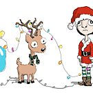 Holiday Girl and Reindeer by lynniebelle