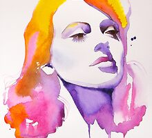 Have one to sell? Sell it yourself Lana Turner Pink Watercolour Painting Hollywood Regency 40s by KimberlyGodfrey