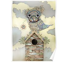 Blue Owl Birdhouse I Poster