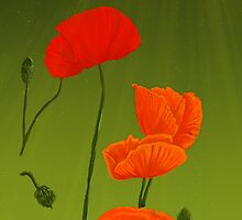 Poppies on Green by EmilyEstelle