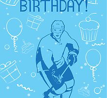 Hockey Birthday Card - Cupcakes Balloons by SaucyMitts