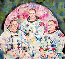 APOLLO 11 MISSION - watercolor portrait by lautir