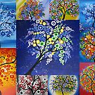 bright tree collage by Australian Artist Catherine Jacobs by cathyjacobs