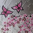 pink butterflies and sakura by cathyjacobs