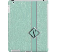 1920s Blue Deco Swing with Monogram letter V iPad Case/Skin
