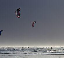 Three kite surfers by Jennifer Moon