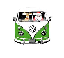 VW Camper Santa Father Christmas Dark Green by splashgti