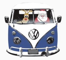 VW Camper Santa Father Christmas blue by splashgti