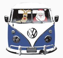 VW Camper Santa Father Christmas blue by splashgti